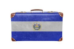 Mala de viagem do vintage com bandeira de El Salvador Fotos de Stock