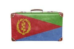 Mala de viagem do vintage com bandeira de Eritreia Imagens de Stock Royalty Free