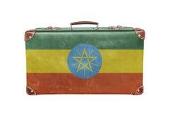 Mala de viagem do vintage com bandeira de Etiópia Foto de Stock