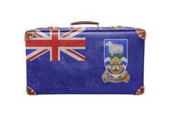 Mala de viagem do vintage com bandeira de Falkland Island Imagens de Stock Royalty Free