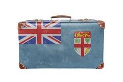 Mala de viagem do vintage com bandeira de Fiji Fotos de Stock Royalty Free