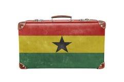 Mala de viagem do vintage com bandeira de Gana Imagens de Stock Royalty Free
