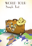 Mala de viagem do vintage com etiquetas no fundo do mapa do mundo Ilustração do vetor Fotografia de Stock Royalty Free