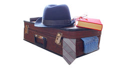 Mala de viagem e chapéu, livro retro, vermelho Foto de Stock Royalty Free