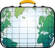 A mala de viagem gosta do mapa de mundo Fotografia de Stock