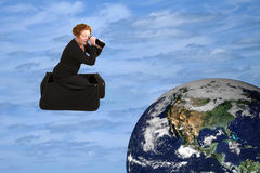 Mala de viagem mágica que visita o mundo Imagem de Stock Royalty Free