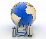 Mala de viagem na frente do globo da terra Fotografia de Stock