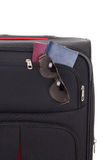 Mala de viagem preta com óculos de sol e passaportes Foto de Stock