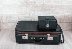 Mala de viagem preta de dois vintages Fotografia de Stock