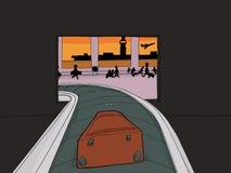 Mala de viagem que entra no aeroporto aglomerado ilustração stock