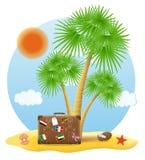 Mala de viagem que está sob uma ilustração do vetor da palmeira Fotografia de Stock Royalty Free
