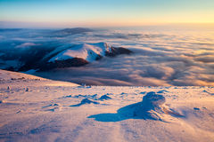 Mala Fatra sunrise inversion stock photos