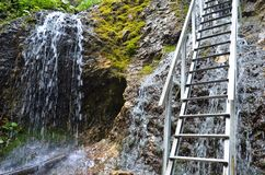 Mala Fatra waterfall. Waterfall and ladder in Mala Fatra mountain range in Slovakia royalty free stock images