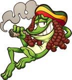 Mala hierba que fuma de la rana de Rasta stock de ilustración