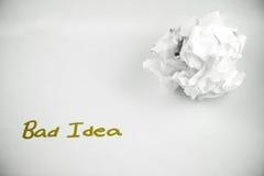 Mala idea - arrugada imágenes de archivo libres de regalías