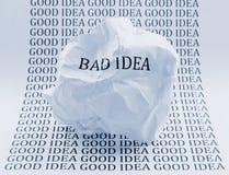 Mala idea - buena idea Imagen de archivo libre de regalías
