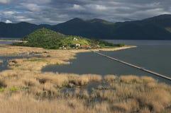 Mala Prespa lake and Island St. Achiliy Royalty Free Stock Photography