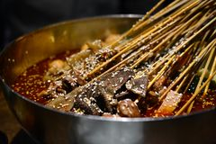 Mala skewers, sichuan style Chinese delicacies, Asian food royalty free stock image
