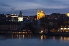 Mala strana night prague czech republic europe Stock Photos