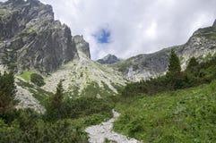 Mala studena dolina hiking trail in High Tatras, summer touristic season, wild nature, touristic trail. Path Royalty Free Stock Image