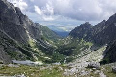 Mala studena dolina hiking trail in High Tatras, summer touristic season, wild nature, touristic trail. Panoramic view to the valley, viewpoint Royalty Free Stock Image