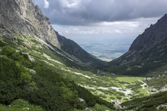 Mala studena dolina hiking trail in High Tatras, summer touristic season, wild nature, touristic trail. Panoramic view to the valley, viewpoint Royalty Free Stock Photography