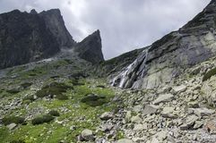Mala studena dolina hiking trail in High Tatras, summer touristic season, wild nature, touristic trail. Waterfall Royalty Free Stock Photos