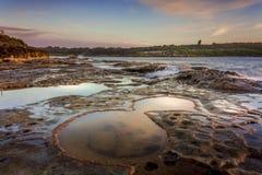 Malabar coastline south Sydney. Malabar coastal rock shelf views south Sydney Royalty Free Stock Images
