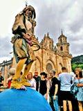 Malabar-Zeigung in der galizischen mittelalterlichen Partei lizenzfreie stockfotos