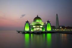 Malacca μουσουλμανικό τέμενος στενών Στοκ Εικόνα