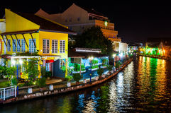 Malacca city center at night. Historical part of the old malaysian town Malacca, Malaysia at night. It is listed in UNESCO World Heritage Site royalty free stock photography