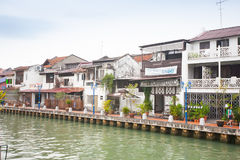 Malacca city with house near river under blue sky in Malaysia Royalty Free Stock Image