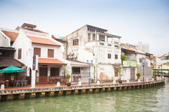 Malacca city with house near river under blue sky in Malaysia Royalty Free Stock Photos