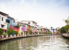 Malacca city with house near river under blue sky in Malaysia Stock Photos
