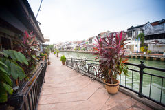 Malacca city with house near river under blue sky in Malaysia Royalty Free Stock Photography