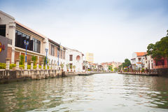Malacca city with house near river under blue sky in Malaysia Stock Photography