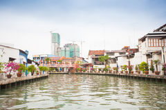 Malacca city with house near river under blue sky in Malaysia Stock Photo