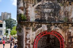 Malacca City, Malaysia - February 03, 2018: the only remaining part of the ancient fortress of Malacca. stock image