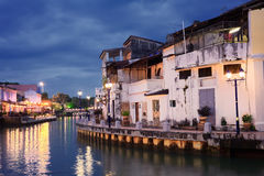 Malacca city night. With house near river under blue sky in Malaysia, Asia royalty free stock images