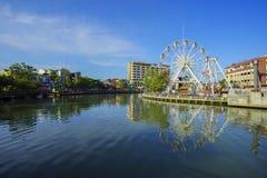 Malacca eye on the banks of Melaka river Stock Images