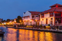 Malacca flod i aftonen Arkivfoton
