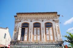 MALACCA, MALÁSIA - 5 DE FEVEREIRO DE 2018: Casa colonial velha em Melaka durante o dia de verão fotografia de stock royalty free