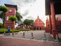 MALACCA, MALÁSIA - 29 DE FEVEREIRO: Centro de cidade histórico quadrado holandês Fotos de Stock Royalty Free