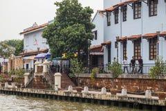 Malacca, Malaysia - circa September 2015: Riverside promenade with historical houses along Sungai Melaka, Malacca,  Malaysia Royalty Free Stock Photo