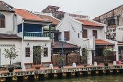 Malacca, Malaysia - circa September 2015: Riverside promenade with historical houses along Sungai Melaka, Malacca,  Malaysia Stock Photography