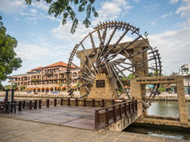 MALACCA, MALAYSIA - FEB 29: Old wooden windmill near the Melaka Stock Photo