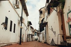 MALACCA, MALAYSIA - FEBRUARY 05, 2018 : City views of Malacca, Malaysia. Narrow street of old town royalty free stock photography
