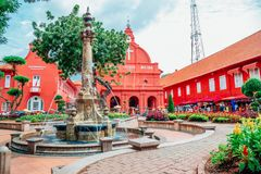 Christ Church Melaka and Dutch Square in Malacca, Malaysia. Malacca, Malaysia - January 6, 2018 : Christ Church Melaka and Dutch Square royalty free stock photography