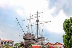 MALACCA MALAYSIA - Juli 16: Malacca maritimt museum på Juli 16, 2016 i Malacca, Malaysia Det är en kopia av Flora de La Mar Arkivfoto