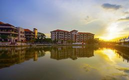 MALACCA, MALAYSIA - March 12, 2017: Sunset view at Malacca River stock photos